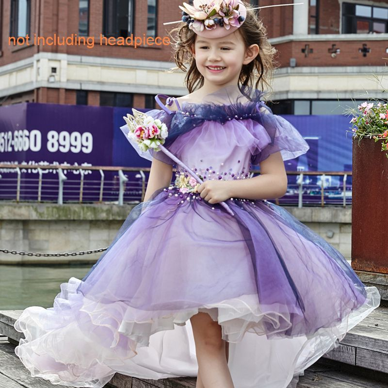 Chic / Beautiful Church Wedding Party Dresses 2017 Flower Girl Dresses Purple Ball Gown Asymmetrical Off-The-Shoulder Short Sleeve Backless Artificial Flowers Crystal Pearl