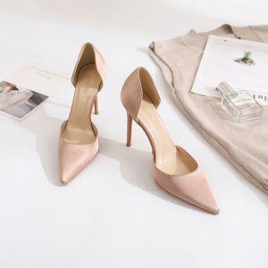 Simple Nues Vêtement de rue Chaussures Femmes 2020 Satin 10 cm Talons Aiguilles À Bout Pointu Talons