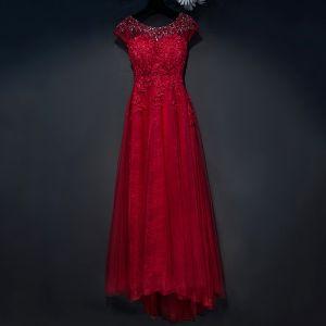 Schöne Rot Festliche Kleider 2017 Spitze Blumen Pailletten Perlenstickerei Rundhalsausschnitt Kurze Ärmel Knöchellänge A Linie Abendkleider