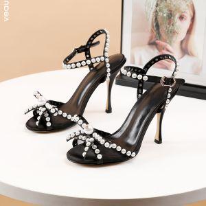 Sexy Schwarz Cocktail Perle Schleife Sandalen Damen 2020 Leder Strass 10 cm Stilettos Peeptoes Sandaletten