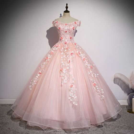 Chic / Beautiful Blushing Pink Prom Dresses 2020 Ball Gown Off-The-Shoulder Beading Pearl Appliques Lace Flower Short Sleeve Backless Floor-Length / Long Formal Dresses
