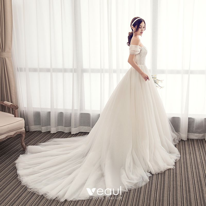 Elegant Champagne Wedding Dresses 2019 A-Line / Princess Off-The-Shoulder Lace Beading Sleeveless Backless Chapel Train