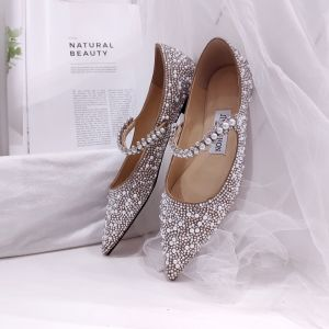 Charmant Champagne Argenté Plate Perle Chaussure De Mariée 2020 Faux Diamant À Bout Pointu Mariage