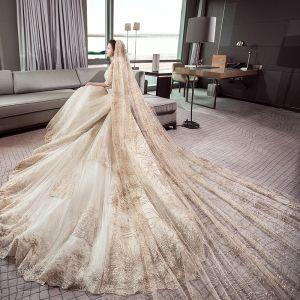 Atemberaubend Champagner Brautkleider / Hochzeitskleider 2019 Ballkleid Off Shoulder 1/2 Ärmel Rückenfreies Applikationen Spitze Kathedrale Schleppe Rüschen