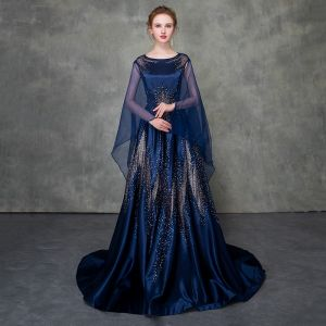 Luxury / Gorgeous Royal Blue Pierced Evening Dresses  Detachable With Shawl 2018 A-Line / Princess Scoop Neck Cap Sleeves Glitter Rhinestone Court Train Ruffle Formal Dresses