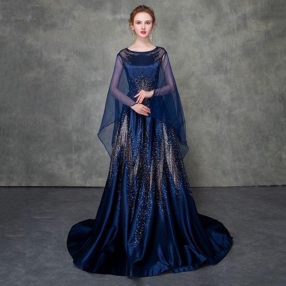 Luxury / Gorgeous Royal Blue Pierced Evening Dresses  Detachable With Shawl 2018 A-Line / Princess Scoop Neck Cap Sleeves Glitter Rhinestone Court Train Ruffle Formal Dresses