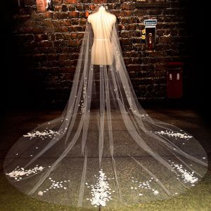Luxury / Gorgeous 2017 White Appliques Tulle Lace Wedding Veils
