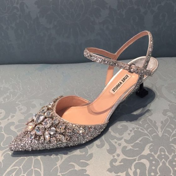 Sparkly Charming Purple Evening Party Crystal Womens Shoes 2020 Rhinestone Sequins 8 cm Stiletto Heels Pointed Toe Heels
