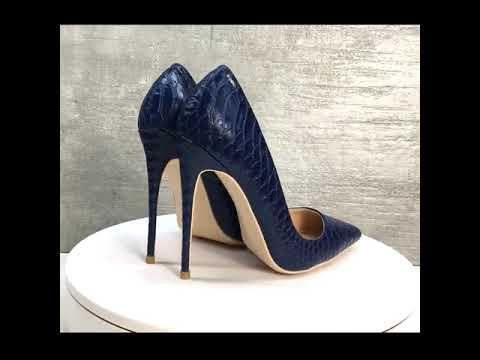 Classy Royal Blue Casual Pumps 2019 Leather Snakeskin Print 12 cm Stiletto Heels Pointed Toe Pumps