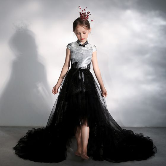 Chinese style Black Birthday Flower Girl Dresses 2020 A-Line / Princess High Neck Cap Sleeves Glitter Tulle Detachable Court Train