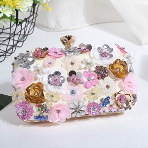 Flower Fairy Multi-Colors Beading Crystal Flower Cocktail Party Evening Party Clutch Bags 2018