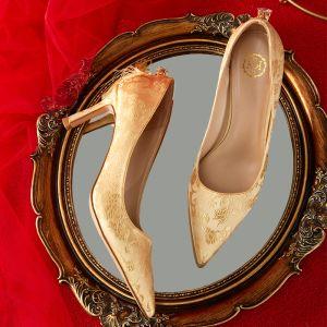 Mode Goud Bruidsschoenen 2020 Geborduurde 7 cm Naaldhakken / Stiletto Spitse Neus Huwelijk Pumps