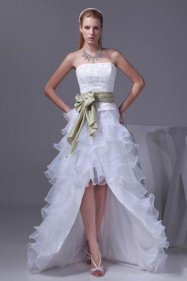 Koronki Moda Bowknot Satyna Jedwab Organza Bez Ramiaczek Asymetryczne Mini Suknia Ślubna Krótkie Suknie Ślubne