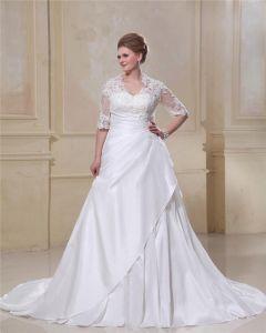 Taft Spitze Bördelten Queen Anne Brautkleider Große Größen Brautkleider
