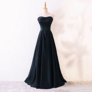 Simple Noire Robe De Bal 2018 Princesse Amoureux Sans Manches Longue Volants Dos Nu Robe De Ceremonie