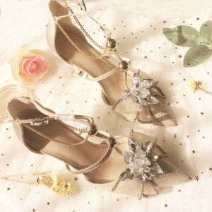 Charming Champagne Crystal Wedding Shoes 2020 Rhinestone T-Strap 8 cm Stiletto Heels Pointed Toe Wedding Pumps