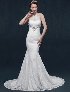 Mermaid halter beading pearl rhinestone crystal lace wedding Dress
