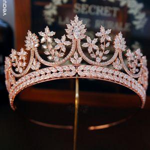 Luxus / Herrlich Gold Strass Diadem Brautaccessoires 2019 Metall Haarschmuck Braut