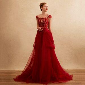 Chic / Beautiful Formal Dresses Evening Dresses  2017 Lace Beading Appliques Backless Short Sleeve Square Neckline Court Train Burgundy A-Line / Princess
