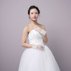 Klassieke Elegante Witte Huwelijk 2018 Tule Lace-up Kralen Kristal Bruidshandschoenen