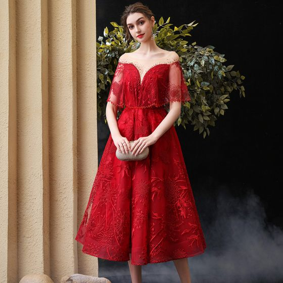 Chic / Beautiful Burgundy Homecoming Graduation Dresses With Shawl 2020 A-Line / Princess See-through Square Neckline Sleeveless Appliques Lace Rhinestone Tea-length Ruffle Backless Formal Dresses