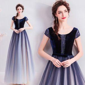 Elegant Navy Blue Evening Dresses  2019 A-Line / Princess Scoop Neck Suede Bow Crystal Rhinestone Short Sleeve Backless Floor-Length / Long Formal Dresses