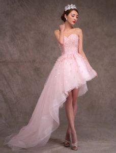 2015 A-linie Prinzessin Schatz Appliques-spitze-blumen Geneigt Zug Kurzen Hochzeitskleid / Abschlussballkleid