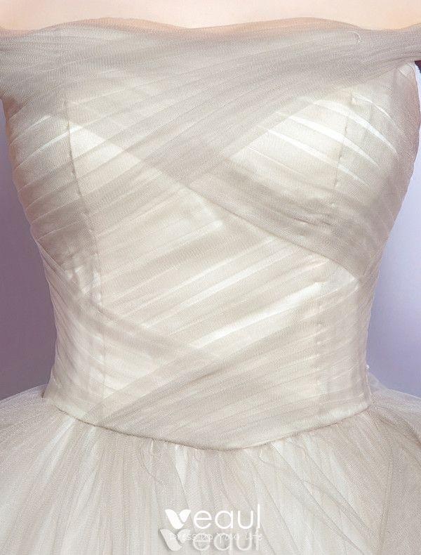 Elegant Prom Dresses 2017 Off The Shoulder Ruffle Champagne Tulle Dress