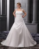 A-Line Square Sleeveless Sweep Satin Chiffon Embroidery Bead Plus Size Wedding Dress
