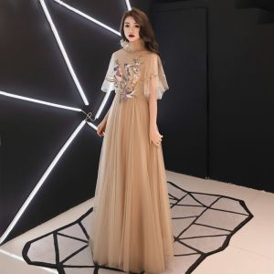 Vintage / Retro Gold See-through Evening Dresses  2019 A-Line / Princess High Neck 1/2 Sleeves Sash Appliques Lace Floor-Length / Long Ruffle Backless Formal Dresses