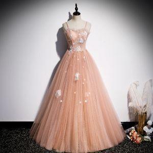 Elegant Orange Dancing Prom Dresses 2020 A-Line / Princess Spaghetti Straps Sleeveless Appliques Flower Beading Spotted Tulle Floor-Length / Long Ruffle Backless Formal Dresses