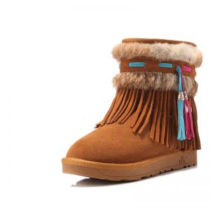 Modern / Fashion Womens Boots 2017 Tan Leather Ankle Suede Tassel Casual Winter Flat Snow Boots