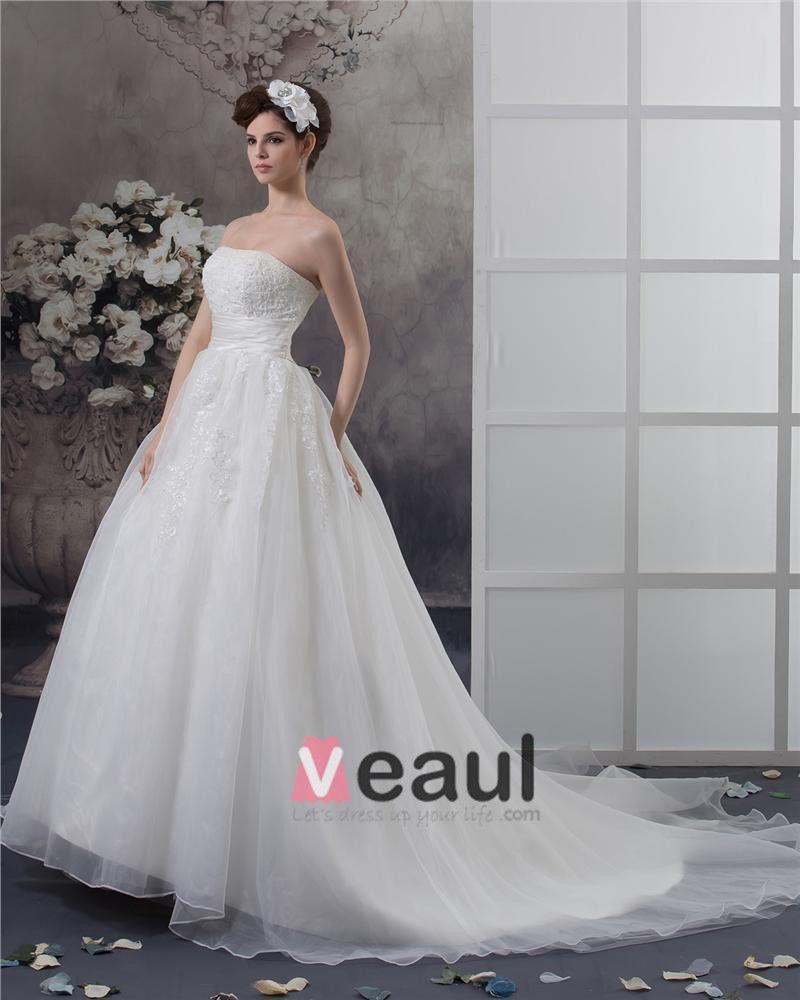 Trägerlosen Perlen Bodenlangen Satin Ballkleid Brautkleid