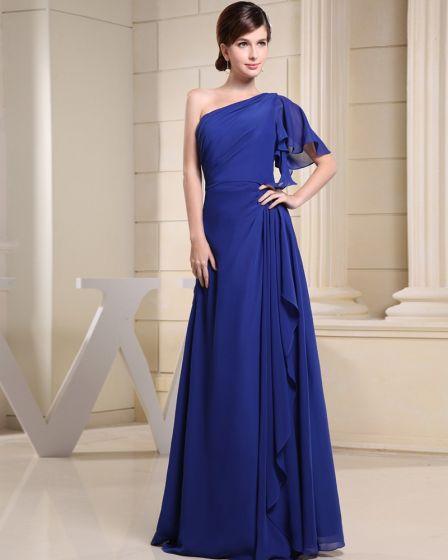Fashion Chiffon One Shoulder Floor Length Sleeveless Women Evening Party Dress