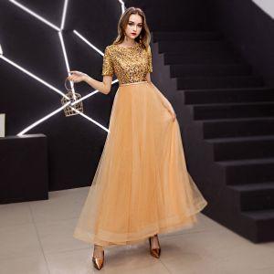 Élégant Doré Robe De Bal 2019 Princesse Encolure Dégagée Pailletée Manches Courtes Longueur Cheville Robe De Ceremonie