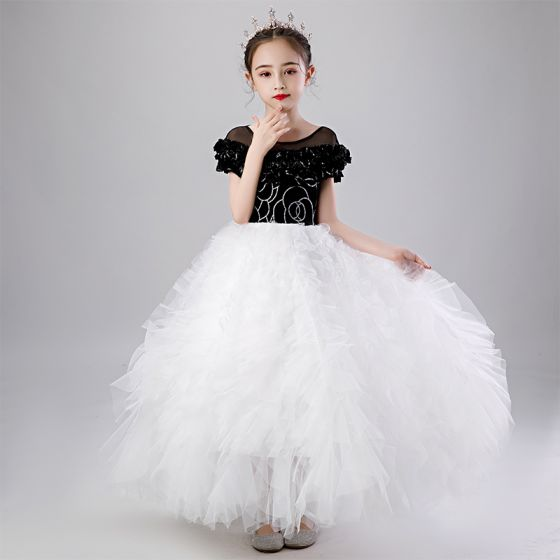 Chic / Beautiful Black White See-through Birthday Flower Girl Dresses 2020 Ball Gown Scoop Neck Puffy Short Sleeve Sequins Floor-Length / Long Ruffle