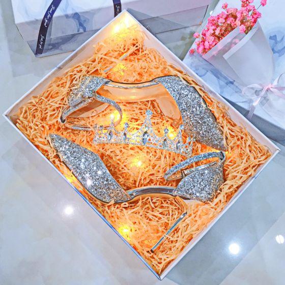 Sparkly Sølv Aften Damesko 2019 Paljetter 9 cm Stiletthæler Spisse Høyhælte