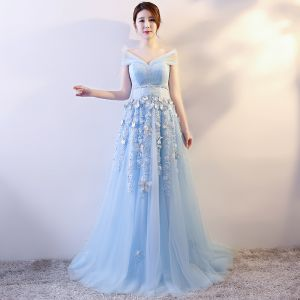 Elegante Himmelblau Abendkleider 2018 Empire Schmetterling Applikationen Schleife Stoffgürtel V-Ausschnitt Ärmellos Lange Festliche Kleider