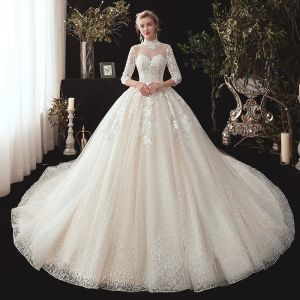 Vintage / Retro Champagne See-through Wedding Dresses 2020 Ball Gown High Neck 3/4 Sleeve Backless Glitter Tulle Appliques Lace Beading Chapel Train Ruffle