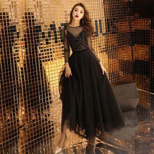 Abordable Noire Transparentes Robe De Bal 2019 Princesse Encolure Dégagée Manches Longues Glitter Paillettes Longueur Cheville Volants Robe De Ceremonie