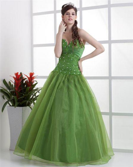 Ball Gown Satin Yarn Beading Ruffle Sweetheart Floor Length Quinceanera Prom Dress