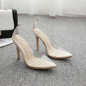 Transparent Beige Street Wear Pumps 2020 11 cm Stiletto Heels Pointed Toe Pumps
