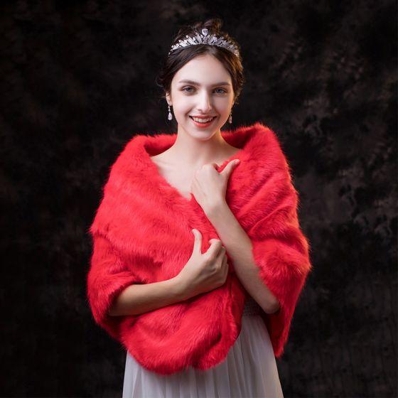 Klasyczna Eleganckie Czerwone szal 2020 Zima Poliester Kwadratowe Plecy Ślub Wieczorowe Bal Szale Akcesoria