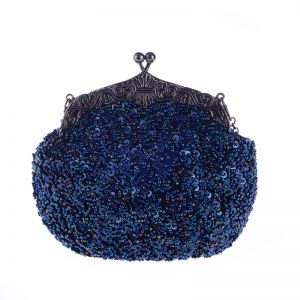 Bling Bling Royal Blue Sequins Beading Metal Clutch Bags 2018