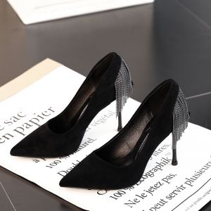 Chic / Beautiful Black Suede Evening Party Pumps 2019 Tassel 10 cm Stiletto Heels Pointed Toe Pumps