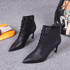 Mote Vinter Svart Gateklær Lær Kvinners støvler 2021 7 cm Stiletthæler Spisse Ankel Boots