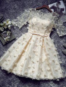219ad9bcc8 Wyjątkowa Krótkie Sukienki Koktajlowe 2016 Rękawy Szampana Tiulu Sukienki  Wizytowe Z Kwiatami