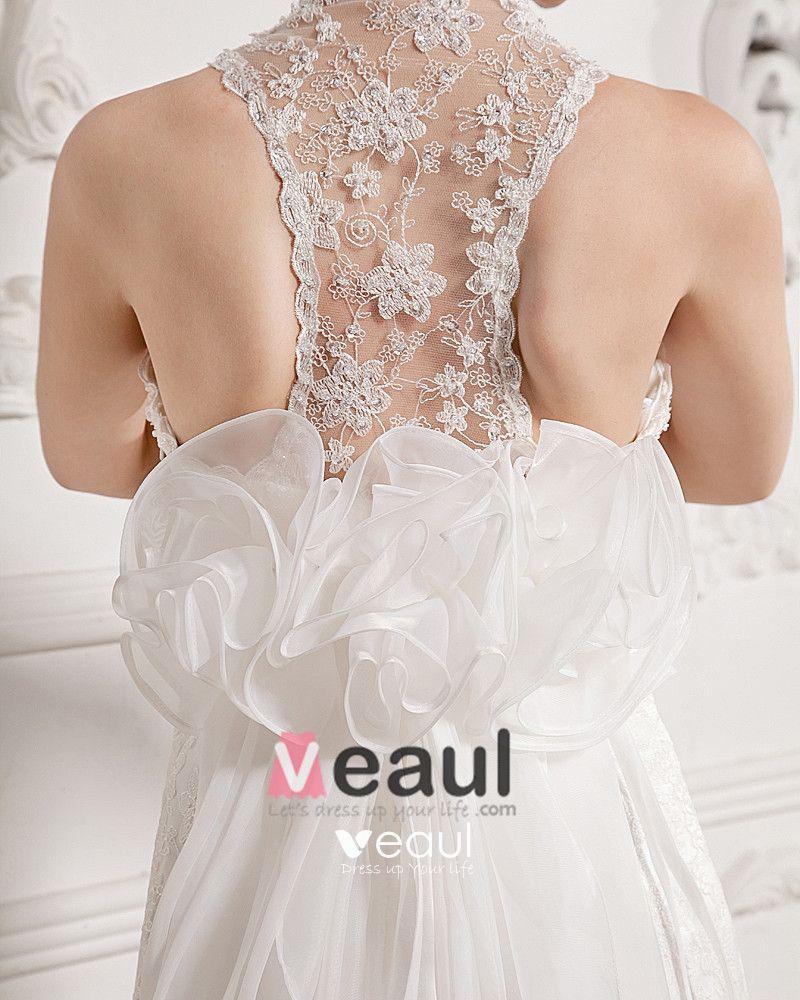 Chiffon Lace Beading V Neck Court Sheath Bridal Gown Wedding Dresses