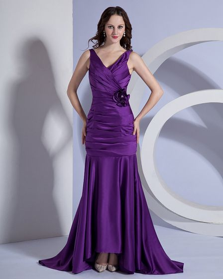 Mermaid V-Neck Taffeta Floor Length Bridesmaid Dress
