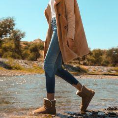 Schlicht Kastanienbraune Schneestiefel 2020 Wasserdichte Leder Schaltflächen Freizeit Winter Flache Ankle Boots Runde Zeh Stiefel Damen